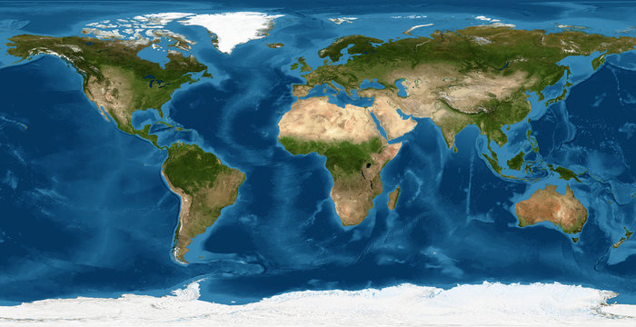 World map, Earth flat view from space. Physical map on global satellite photo. Elements of this image furnished by NASA.