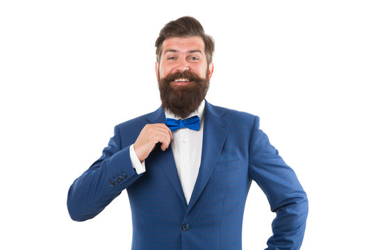 Businessman with beard wear bow tie. Art director exhibition curator. Modern business. Think Different. Event manager. Business in modern life. Groom ready for wedding. Bearded man in formal suit