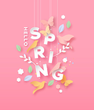 Hello spring paper cut card of nature season icons