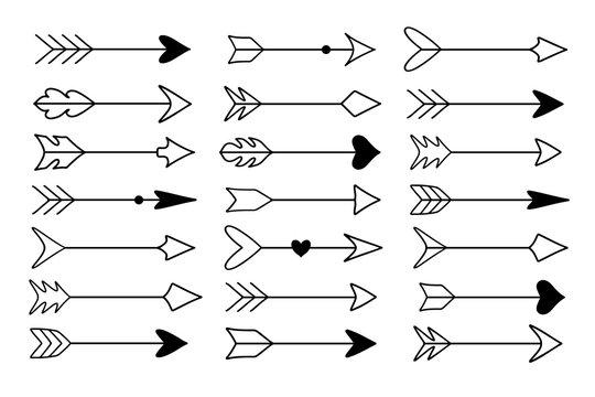Set of hand drawn arrows, stylish decor for weddings design