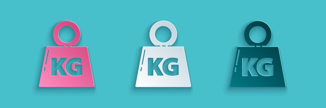 Paper cut Weight icon isolated on blue background. Kilogram weight block for weight lifting and scale. Mass symbol. Paper art style. Vector Illustration