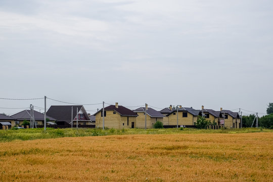 cottage village of two-storey houses. Low-rise development.