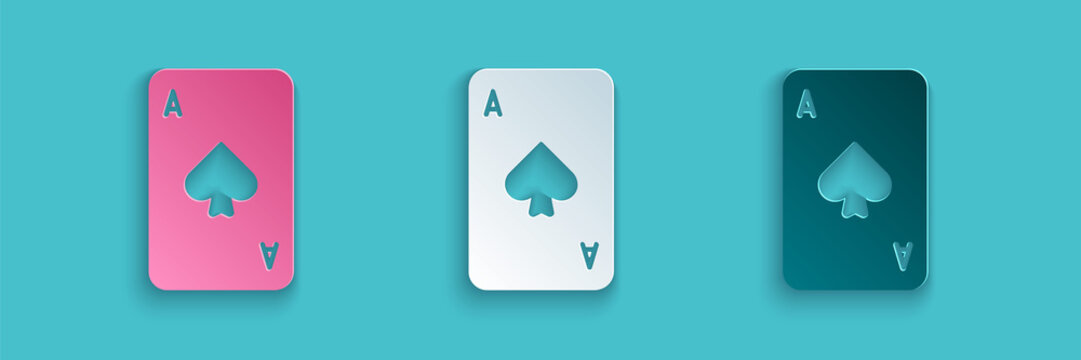 Paper cut Playing card with spades symbol icon isolated on blue background. Casino gambling. Paper art style. Vector Illustration