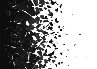 Abstract cloud of pieces and fragments after explosion. Demolition surface. Shatter and destruction effect. Vector illustration