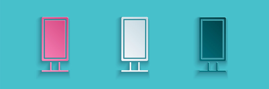 Paper cut Big full length mirror for bedroom, shops, backstage icon isolated on blue background. Paper art style. Vector Illustration