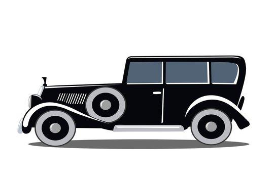 Old black car of the twenties. Gangster Limo. Vector vintage illustration.