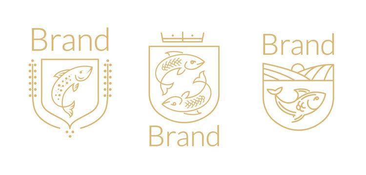 Fish and seafood restaurant logo set.