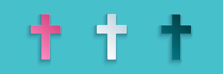 Paper cut Christian cross icon isolated on blue background. Church cross. Paper art style. Vector Illustration