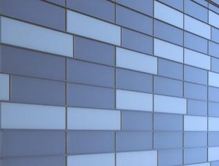 geometric blue metallic cladding modern facade in perspective view