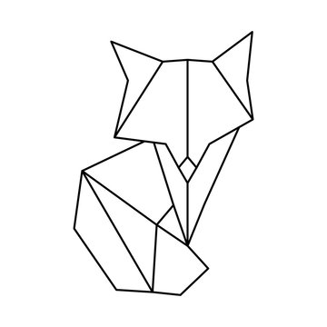 Polygonal geometric outline illustration of fox isolated on white. Contour for tattoo, logo, emblem and design element. Vector illustration