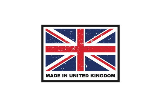 Made in UK label with flag, vector icon illustration