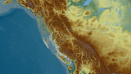 British Columbia, Canada - outlined. Relief Wall mural
