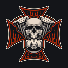 Vector biker's cross with a motorcycle engine.