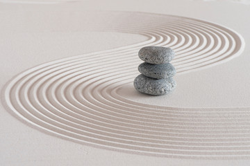 Japanese zen garden with stone in textured white sand