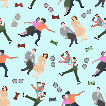 Seamless pattern with dancing couples silhouettes on color background. People in 1940s or 1950s style. Men and women on swing, jazz, lindy hop or boogie woogie party. Vector illustration.