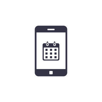 Calendar on smartphone screen icon. Planning or schedule, appointment, concept. Vector illustartion