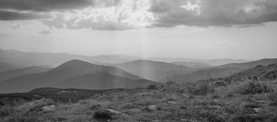 Monochrome View of Carpathian mountains, Ukraine. Travel, tourism, art, minimalism and nature concept