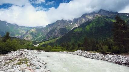 壁紙(ウォールミューラル) - Upper Svaneti, Georgia, Europe. The main Caucasian ridge.