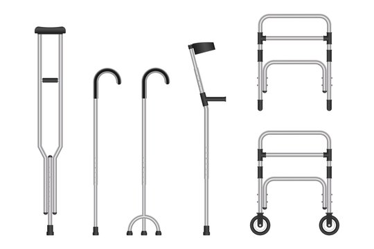 Set of mobility aids isolated on white background