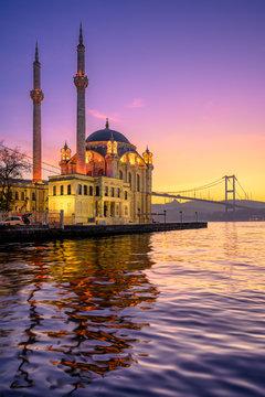 Ortakoy Mosque with Bosphorus Bridge in Istanbul, Turkey
