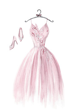 watercolor pink wedding dress and pink woman shoes on white background