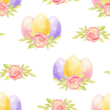 Watercolor hand drawn colorful easter eggs with flowers seamless pattern on white background. Can be used as invitation template scrapbooking, wallpaper,layout,fabric,textile,wrapping paper