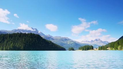 Wall Mural - Impressive scene of the azure lake Champfer in alpine valley.
