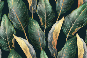 Palm leaves seamless vintage pattern