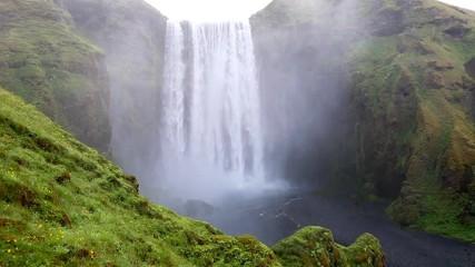 Wall Mural - Famous Skogafoss waterfall. Location Skoga river, Iceland.