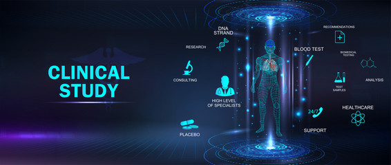 Clinical study, healthcare concept banner with keywords and icons and 3D body hologram. Futuristic examination of human health and proper treatment in HUD style. Sci 3D x-ray. Vector medical banner