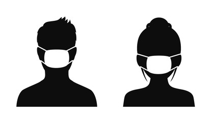 Man and woman wearing medical masks, protecting themselves against pandemic epidemic infection. Coronavirus - COVID-19, virus contamination, pollution, antivirus. Disposable medical mask icon.