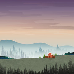 Printed kitchen splashbacks Beige Vector illustration of mountain landscape with silhouettes of misty pine trees in forest with sunrise, Peaceful panoramic natural in minimalist style, Natural background concept