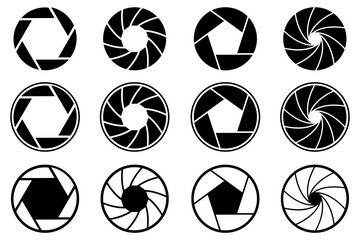 Set photo camera lens diaphragm. Photo lenses aperture, cameras shutter silhouette icon and shutter apertures pictogram. Lomography film lens or snap optics objective lenses - stock vector