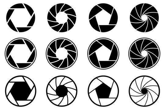 Set photo camera lens diaphragm. Photo lenses aperture, cameras shutter silhouette icon and shutter apertures pictogram. Lomography film lens or snap optics objective lenses - stock vector