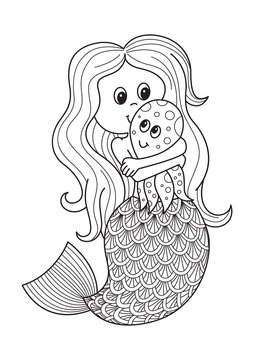 Doodle coloring book page cute mermaid with octopus. Antistress for adults.