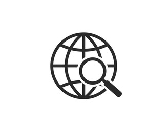 globe search icon. world earth and magnifying glass