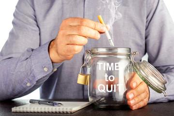 Time To Quit Smoking, Health Concept. Man quit smoking.