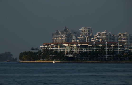 A view of luxury condominiums on Sentosa Cove in Singapore