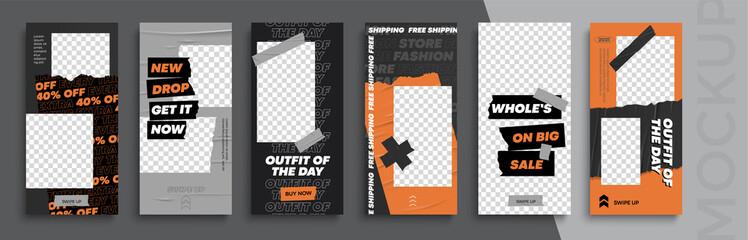 Trendy editable Instagram Stories template. Design  for social media. Flash Sale