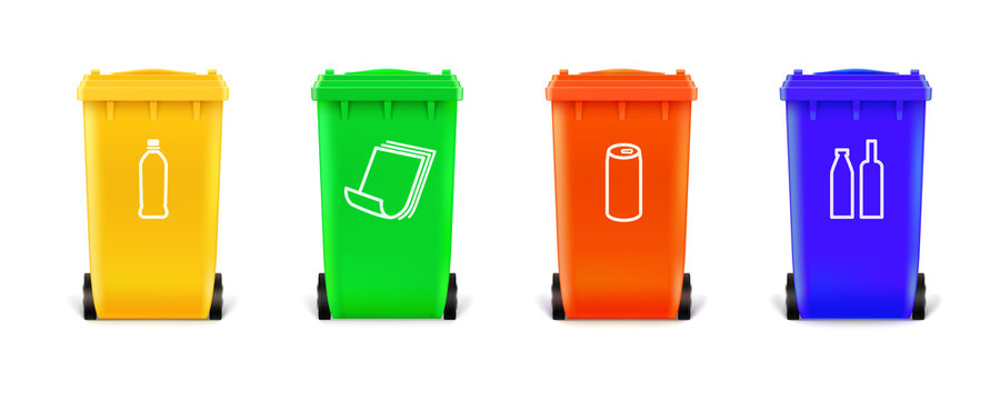 Realistic multi colored trash cans isolated on white background. Trash cans with icons for sorting types of garbage. Vector 3d illustration