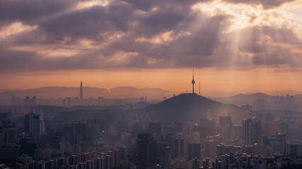Photo sur Toile Seoul View of Seoul City Skyline and Seoul Tower at Sunrise South Korea