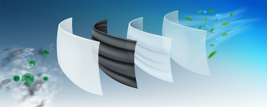 The filter layer of the surgical mask The first layer is coated with antiseptics, viruses and bacteria. 2 layers of carbon, eliminate dust and odor, 3 layers fine fabric, 4 layers of air purification.