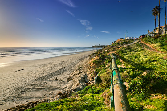 Drainage pipes in the bluffs along North Pacific Beach, San Diego, California