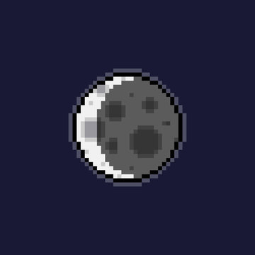 Pixel art crestcen moon icon.