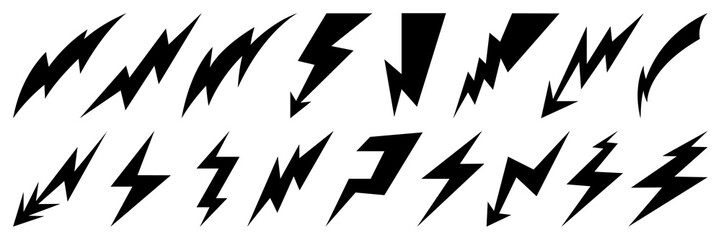 Lightning bolt icons set. Thunder hand drawn doodle. Vector illustration Wall mural
