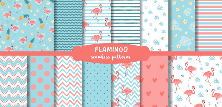 Pink Flamingo seamless patterns set Cute summer tropical background. Geometric pink blue print collection. Vector.