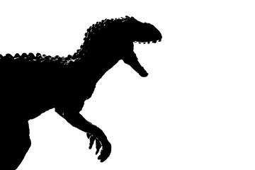 silhouette image black giganotosaurus dinosaur monster in cretaceous period on white background