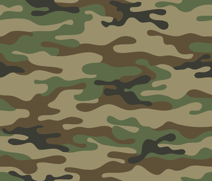 Camouflage seamless pattern. Trendy style camo, repeat print. Vector illustration. Khaki texture, military army green hunting print
