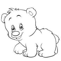 cartoon style teddy bear is drawn in outline, isolated object on a white background, vector illustration,