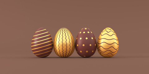 Set of chocolate easter eggs with golden patterns on beige background. 3d render illustration.